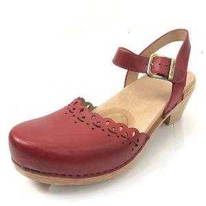 DANSKO Marta 10 Eur 40 Heeled Mary Jane Red Shoes